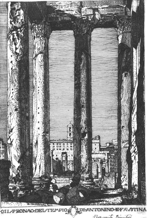 Engraving Disertori - Il pronao del tempio di Antonino e Faustina