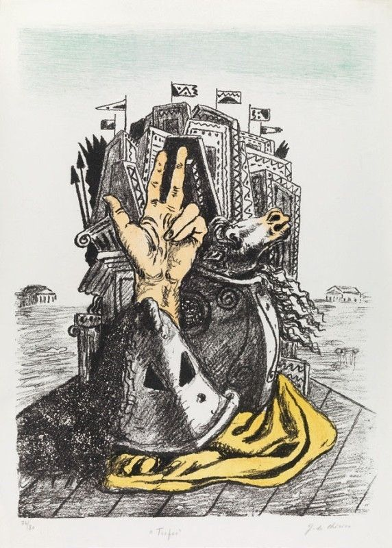 Lithograph De Chirico - IL TROFEO