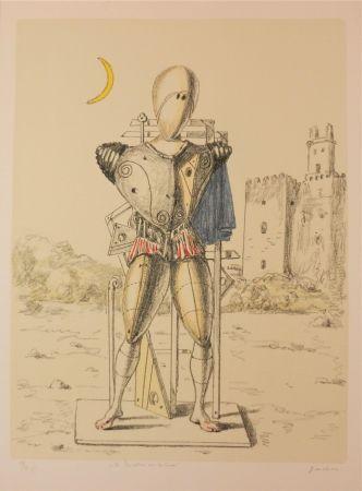 Lithograph De Chirico - Il trovatore con la luna