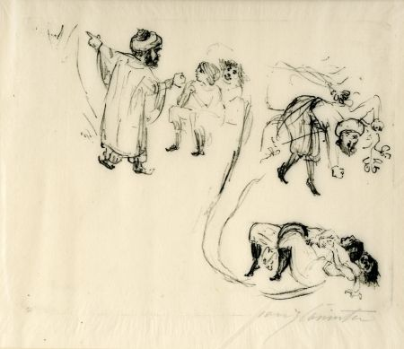 Lithograph Corinth - Illustration zu 1001 Nacht