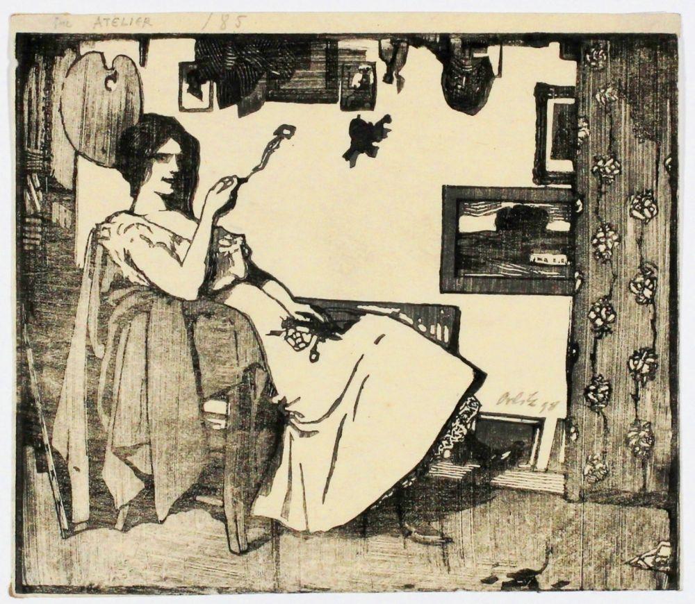 Woodcut Orlik - Im Atelier (In the studio)