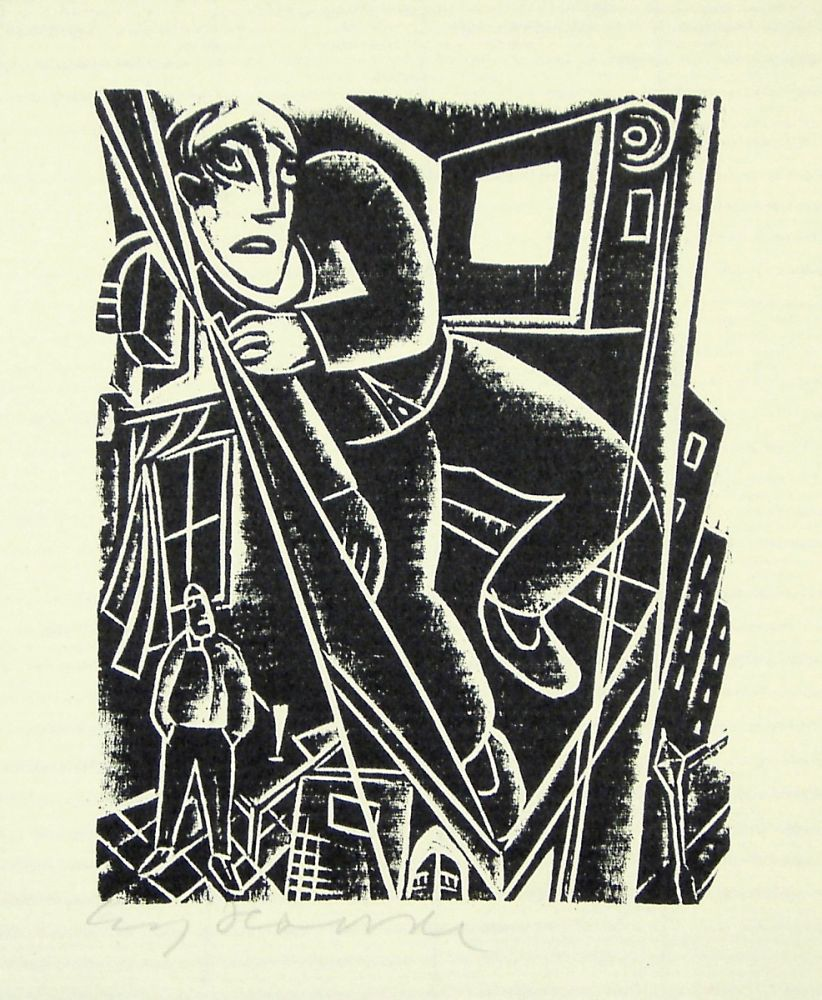 Woodcut Hauser - Im Aufzug (In the elevator)