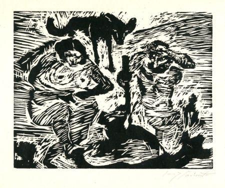 Woodcut Corinth - Im Schweiße Deines Angesichtes (Adam And Eve)