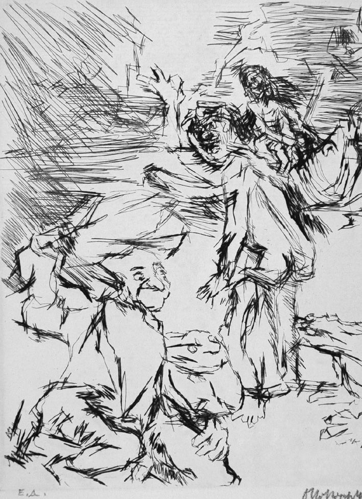 Engraving Kokoschka - Imaginares Bildnis des Aritophanes