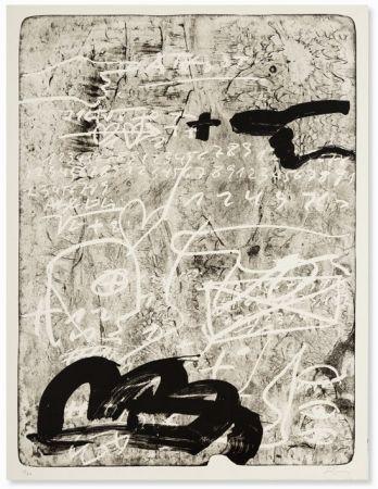 Lithograph Tàpies - Improvisation en blanc et noir 4