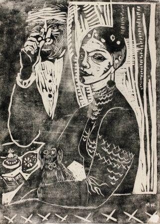 Woodcut Hamerschlag - In der Loge - Selbstporträt (At the Loge - Selfportrait)