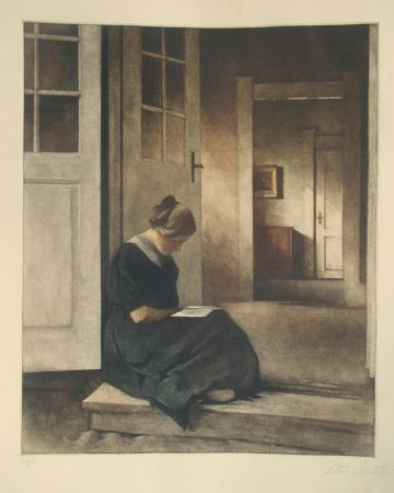 Mezzotint Ilsted - In The Doorway To The Garden