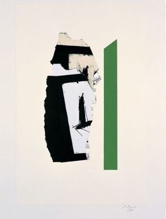 Lithograph Motherwell - In White with Green Stripe