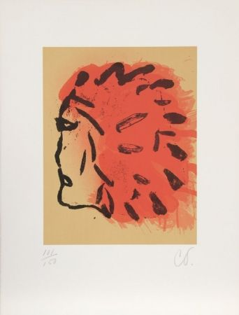 Lithograph Oldenburg - Indian Head from Peace Portfolio