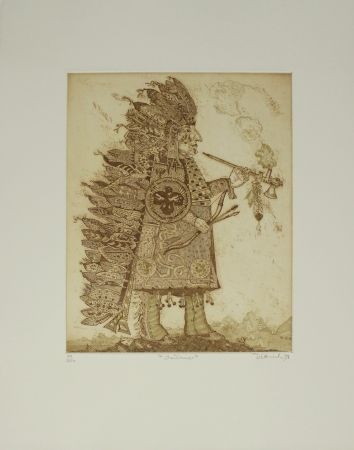 Etching Dittrich - Indianer / Indian