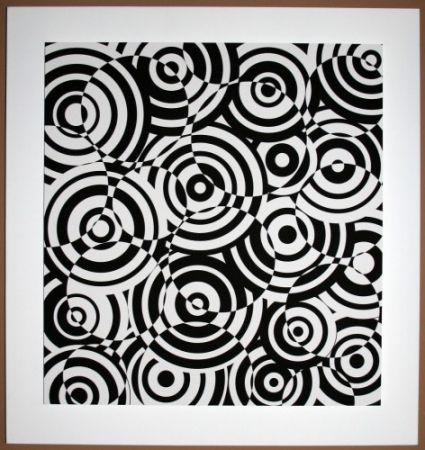 Woodcut Asis - Interferences cercles noir et blanc