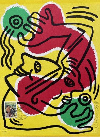 Lithograph Haring - : International Volunteer Day 1988 - RARE VARIENT