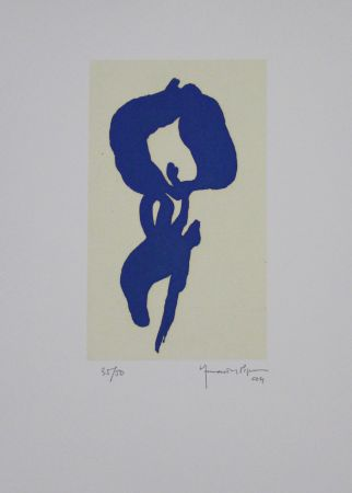 Aquatint Hernandez Pijuan - Iris Blau V / Blue Iris V