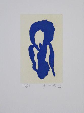 Aquatint Hernandez Pijuan - Iris Blau X / Blue Iris X
