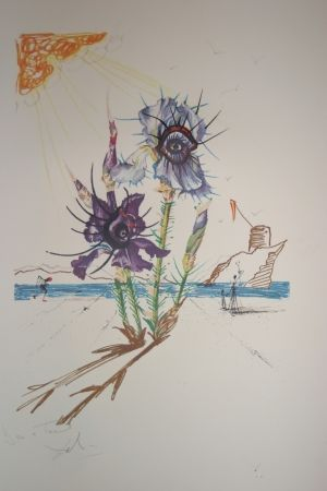 Lithograph Dali - Iris of Dalí's Youth (surrealistic flowers)