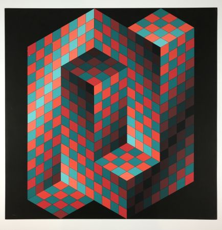 Lithograph Vasarely - Izzo-Rouge-Vert