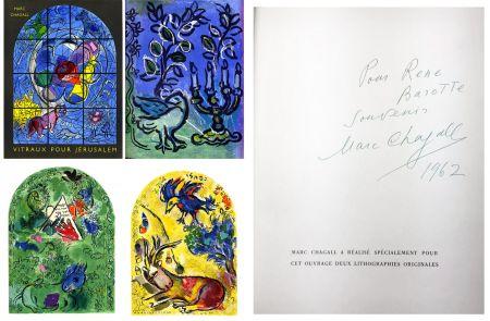 Illustrated Book Chagall - J. Leymarie : VITRAUX POUR JÉRUSALEM. DÉDICACÉ ET SIGNÉ PAR MARC CHAGALL. 1962.