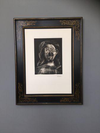 Linocut Picasso -  Jacqueline aux chevaux flous, en buste