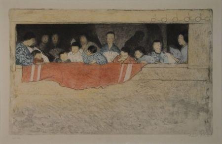 Engraving Orlik - Japanische Kinder als Zuschauer bei einem Umzug