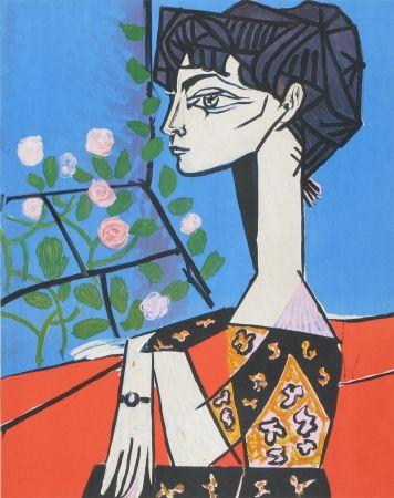 Lithograph Picasso - Jaqueline avec Fleurs