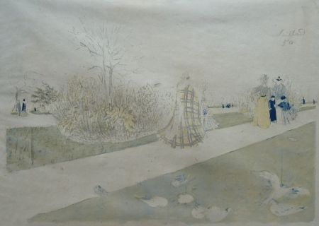 Lithograph Vuillard - Jardin des Tuileries