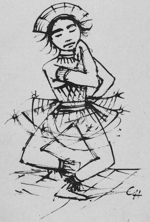 Lithograph Hofer - Javanische-Tänzerin