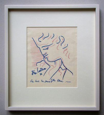 Lithograph Cocteau - Je suis la jeune fille bleue