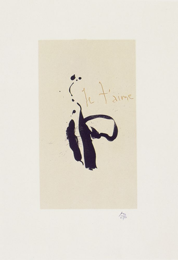 Lithograph Motherwell - Je T'aime