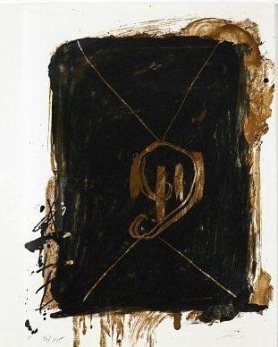 Lithograph Tapies - Jean Cassou: vingt-deux poèms