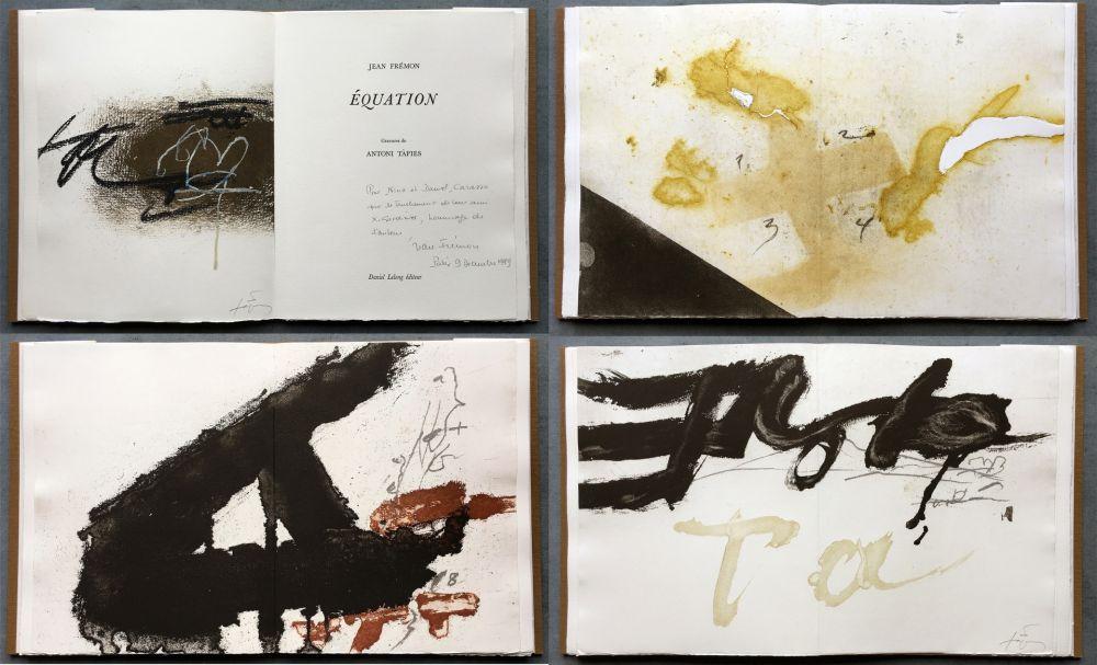 Illustrated Book Tàpies - Jean Frémon: ÉQUATION. 5 aquatintes en couleurs dont deux signées (1987)