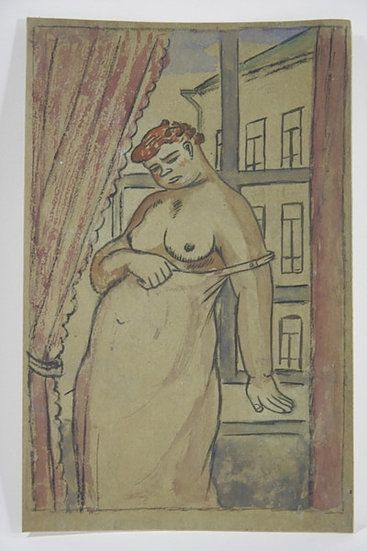 No Technical Lébédeff  - Jean Lébédeff (1884-1972). Femme à la fenêtre. Encre et aquarelle.