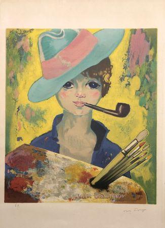 Lithograph Van Dongen - Jean Marie avec un chapeau et une pipe