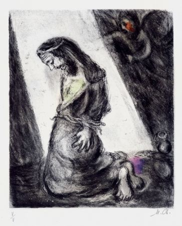 Etching Chagall - Jeremiah in the Pit (from the Bible Series), 1958