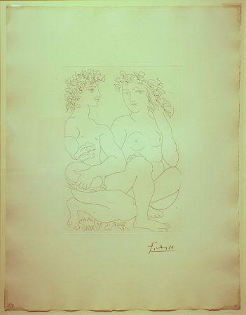 Etching Picasso - Jeune Couple,Accroupi,l'Homme avec un tambourin