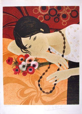 Lithograph Ganne - Jeune femme au bouquet