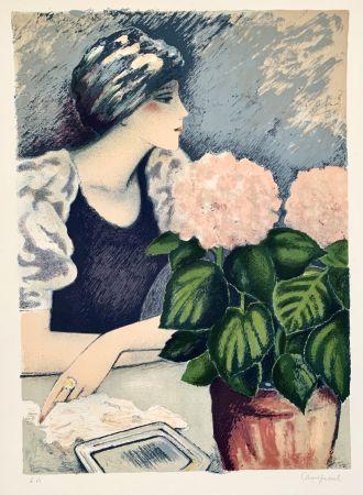 Lithograph Cassigneul  - Jeune Femme au Hortensia