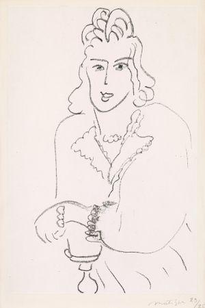 Lithograph Matisse - Jeune Femme Coiffure Louis XV (Woman Hairdresser Louis XV) from Poèmes de Charles D'Orléans, 1942