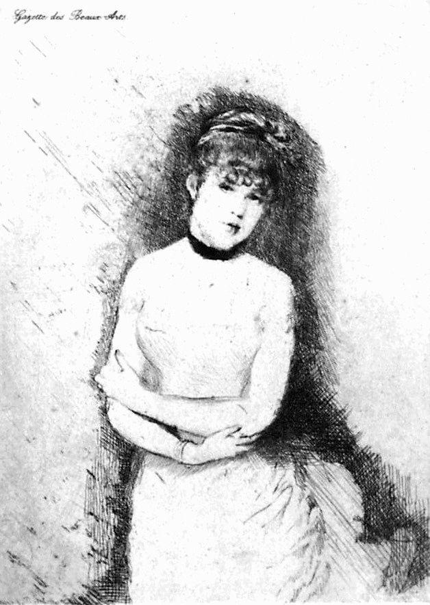 Engraving De Nittis - Jeune femme décolletée