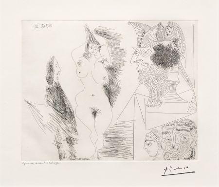 Etching Picasso - Jeune Femme et Gentilhomme