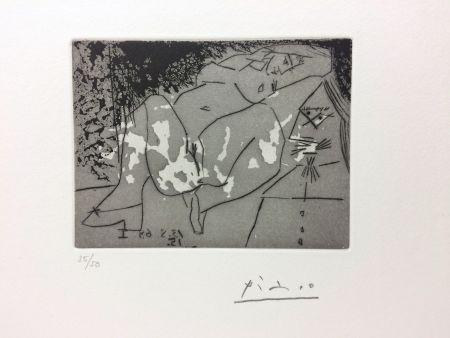 Etching Picasso - Jeune femme et «mousquetaire». Aquatinte. 1968.