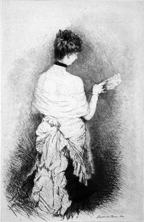 Engraving De Nittis - Jeune femme vue de dos