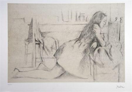 Lithograph Balthus - Jeune fille agenouillée