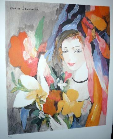 Lithograph Laurencin - Jeune fille au bouquet