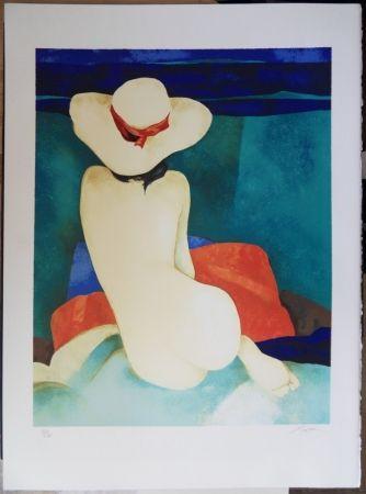 Lithograph Gaveau - Jeune fille au chapeau
