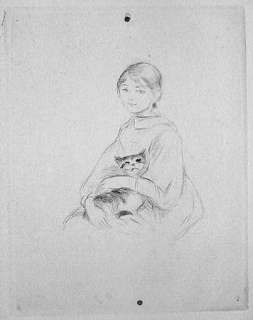 Drypoint Morisot - Jeune fille au chat