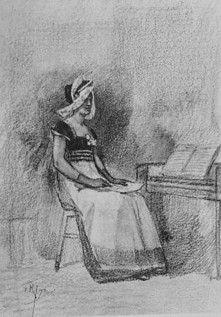 Lithograph Rops - Jeune fille au clavenin