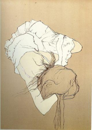Lithograph Jansem - Jeune Fille au Jupon Brode