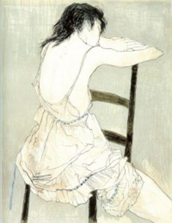 Lithograph Jansem - Jeune Fille au Jupon Rose