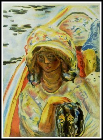 Lithograph Bonnard - JEUNE FILLE DANS UNE BARQUE