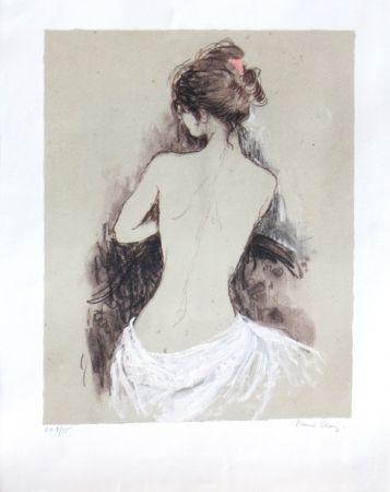 Lithograph Charoy - Jeune fille de dos